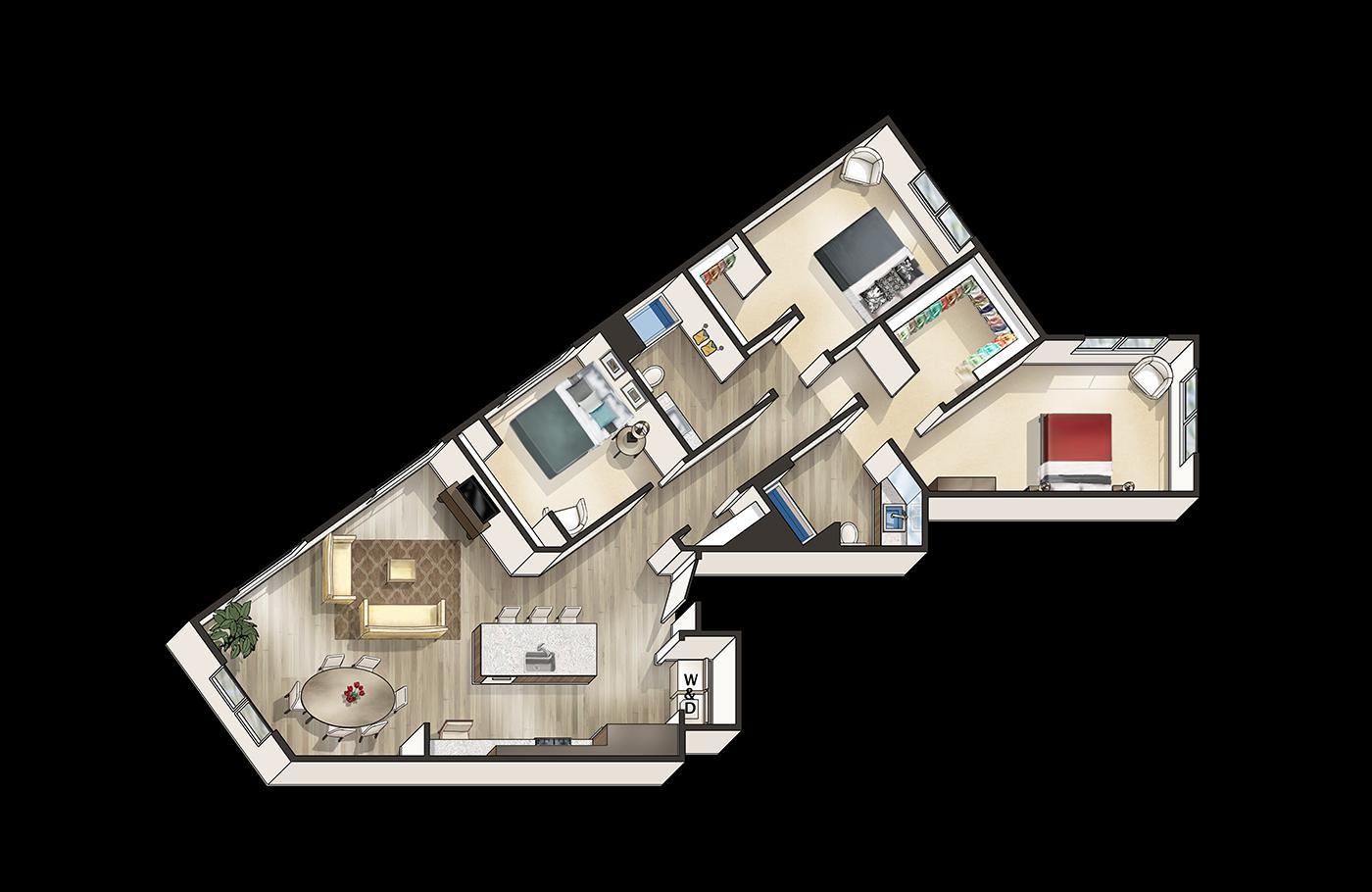 3x2 B Floor Plan 4
