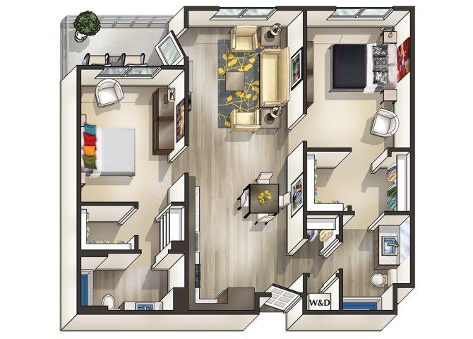 2x2B Floor Plan 2