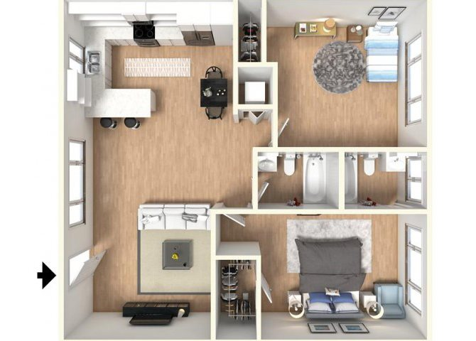 2BD, 2BTH floor plan.