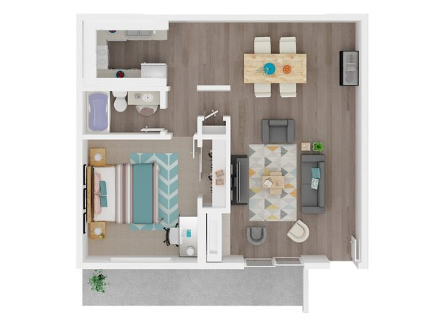One Bedroom and One Bathroom Floor Plan 1