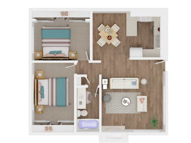 Two Bedroom and One Bathroom Floor Plan 2