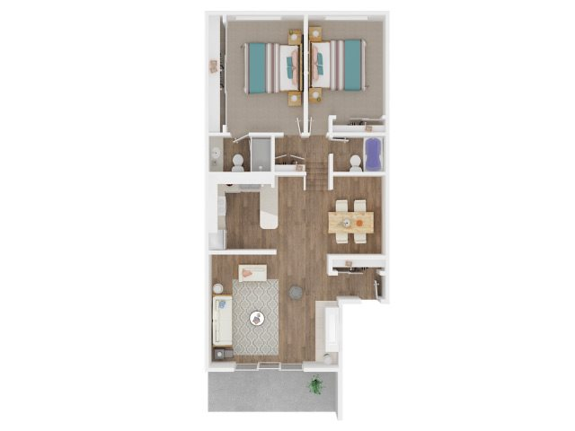 Two Bedroom and Two Bathrooms Floor Plan 3