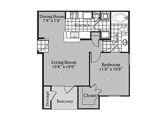 Pecan Point l 1x1 Floor Plan Apartments in Temple, TX 76502