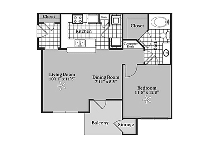 Pecan Point l 1x1Floor Plan Apartments for rent in Temple, TX 76502