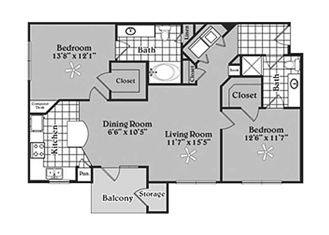 Pecan Point l 2x2 Floor Plan Apartments in Temple, TX 76502
