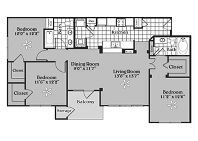 Pecan Point l  3x2 Floor Plan Apartments in Temple, TX 76502