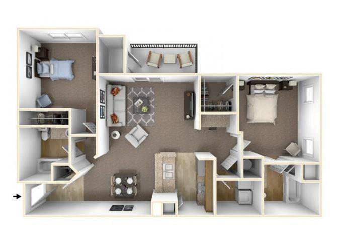 Two Bedroom Floor Plan Waco, Texas Apartments l The Retreat at CTM Apartments