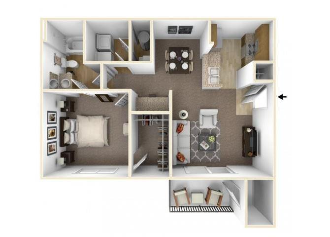 One Bedroom Floor Plan Waco, Texas Apartments l The Retreat at CTM Apartments