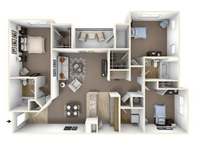 Three Bedroom Floor Plan Waco, Texas Apartments l The Retreat at CTM Apartments
