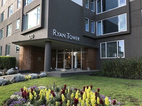 exterior view of building  office l Ryan Tower Apartments in San Mateo CA