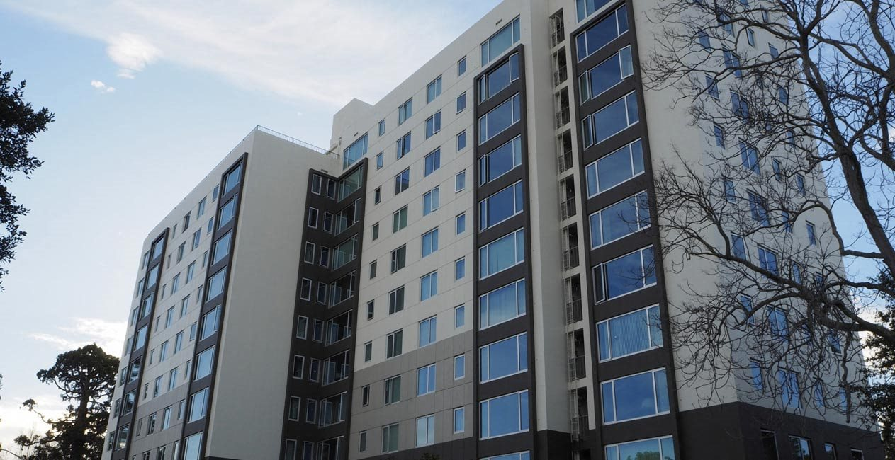 exterior of building l Ryan Tower Apartments in San Mateo CA