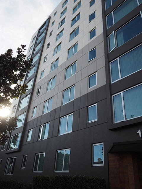 exterior view of building  l Ryan Tower Apartments in San Mateo CA