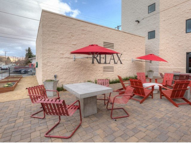 Outdoor Sitting Area with BBQ l Square One Apartments in Sparks NV