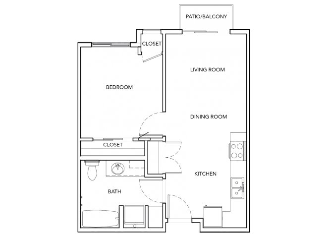 1BD, 1BTH floor plan.