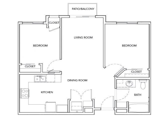 2BD, 1BTH floor plan.