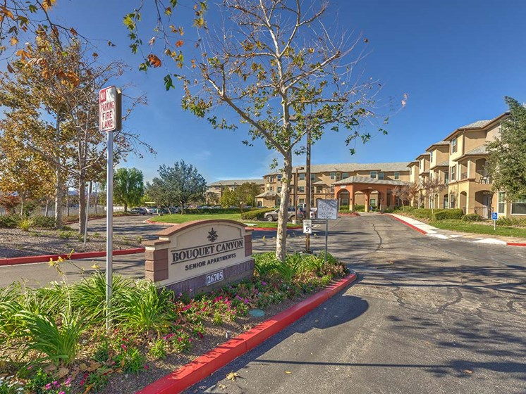 Entry with monument Sign Vintage at Bouquet Canyon Senior Apartments