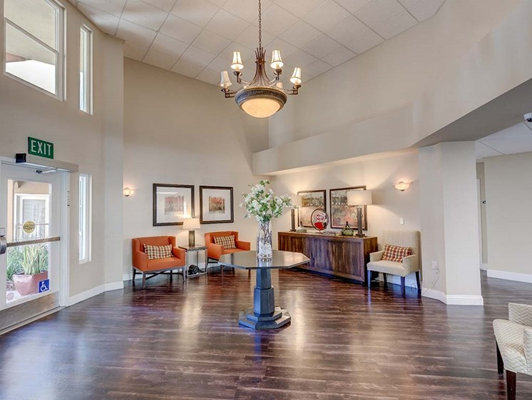 Entry with seating  l Vintage at Bouquet Canyon Senior Apartments