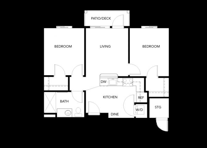 2 Bedroom B floor plan.