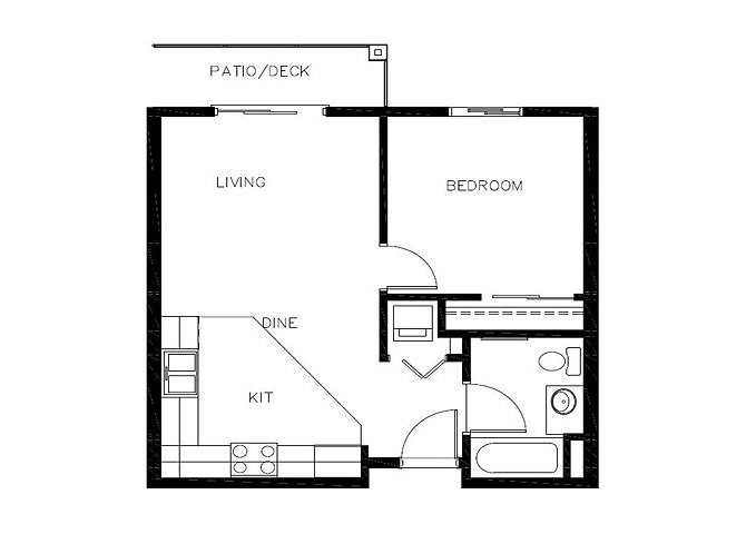 One Bedroom floor plan.