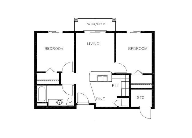 Two Bedroom floor plan.
