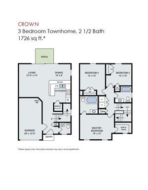 Crown - 3 Bedroom Townhome w Garage