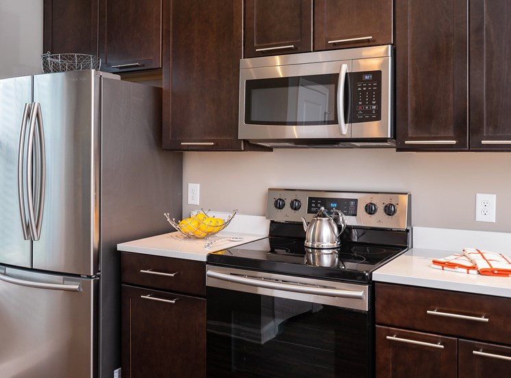 Stainless Steel Appliances with Quartz Countertops