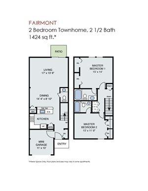Fairmont - 2 Bedroom Townhome w Garage