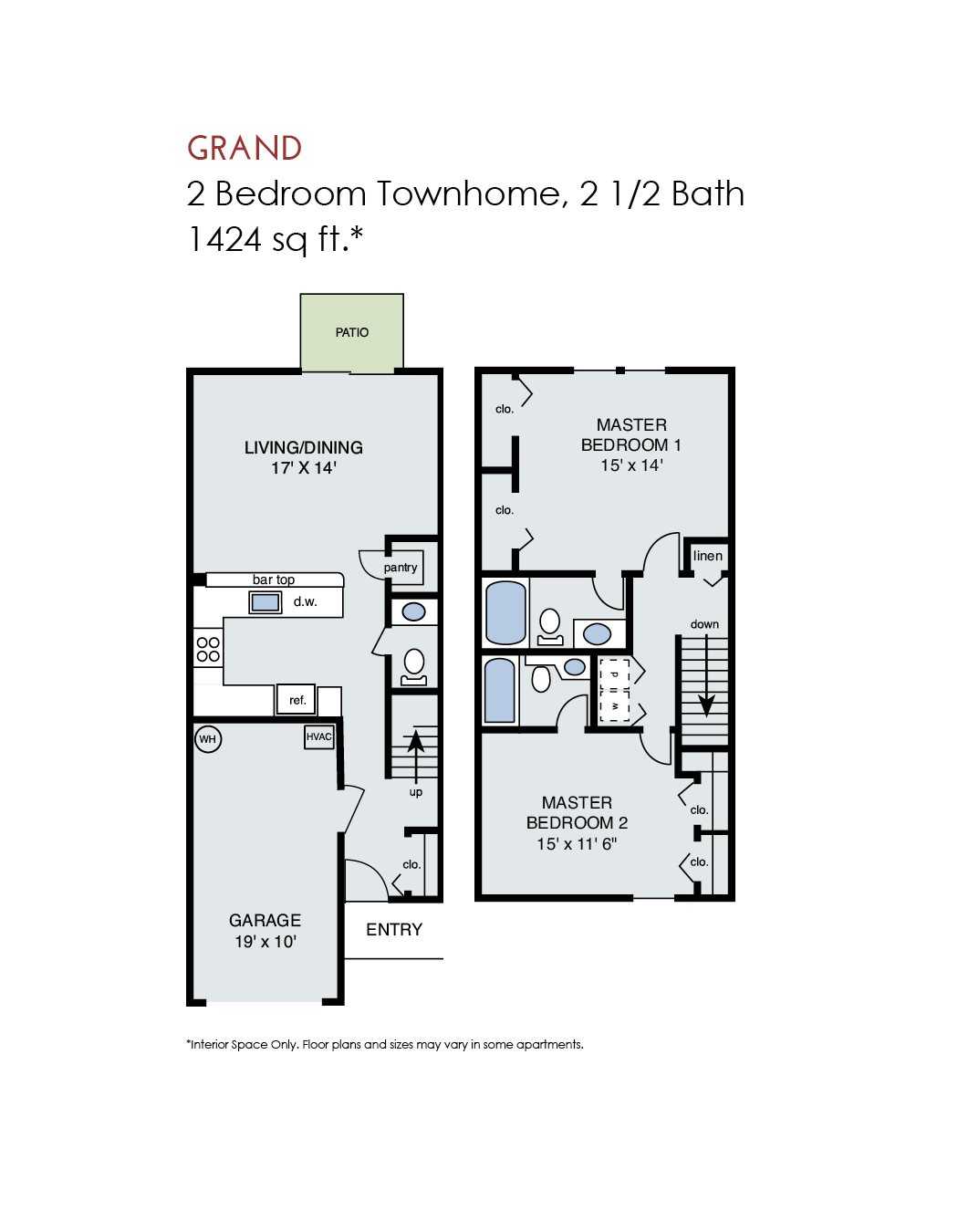 Grand - 2 Bedroom Townhome w Garage