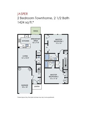 Jasper - 2 Bedroom Townhome w Garage