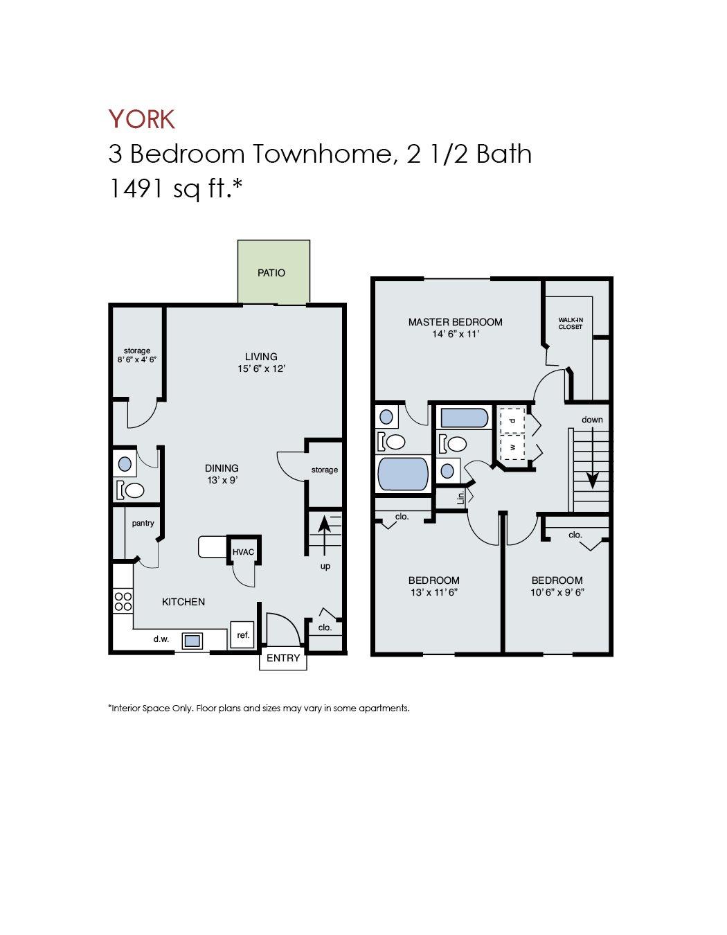 York - 3 Bedroom Townhome