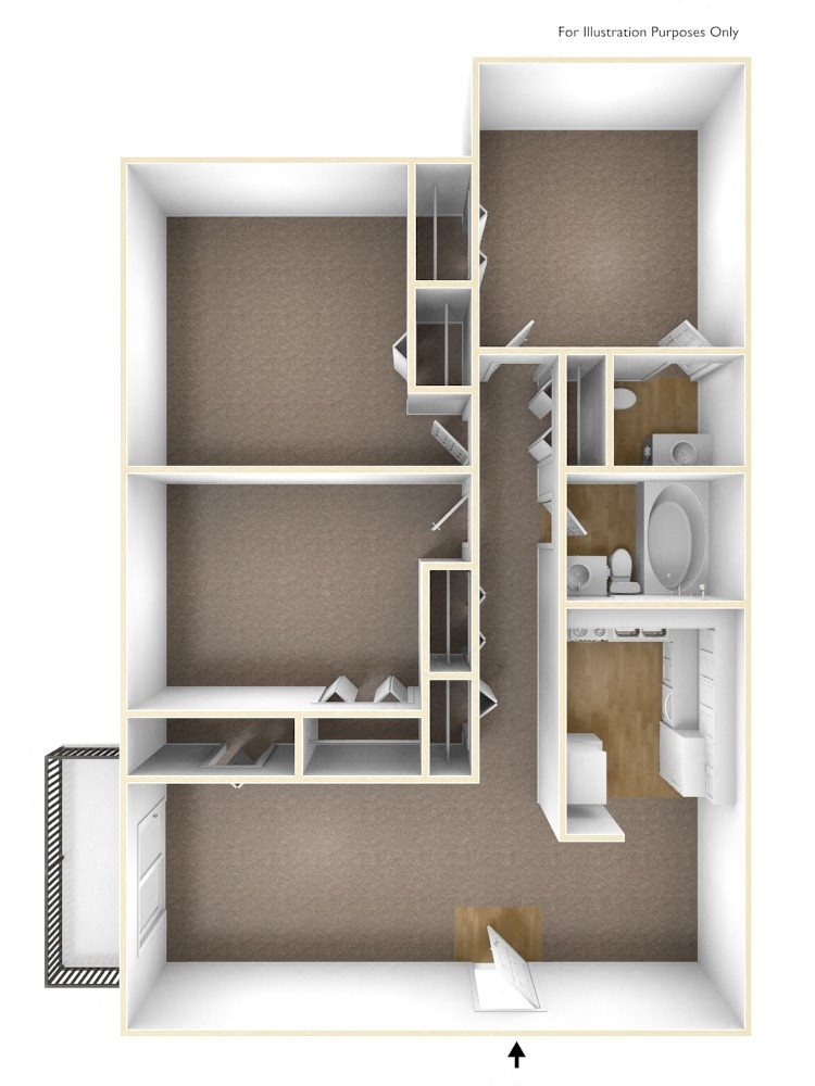 Floor plans of rollingwood apartments in north for 1 bed 1 5 bath