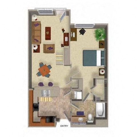 One Bedroom One Bathroom Floor Plan, at Beaumont Apartment Homes, 14001 NE 183rd Street, Washington