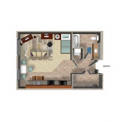 Studio Floor Plan, at Beaumont Apartment Homes, Woodinville, Washington