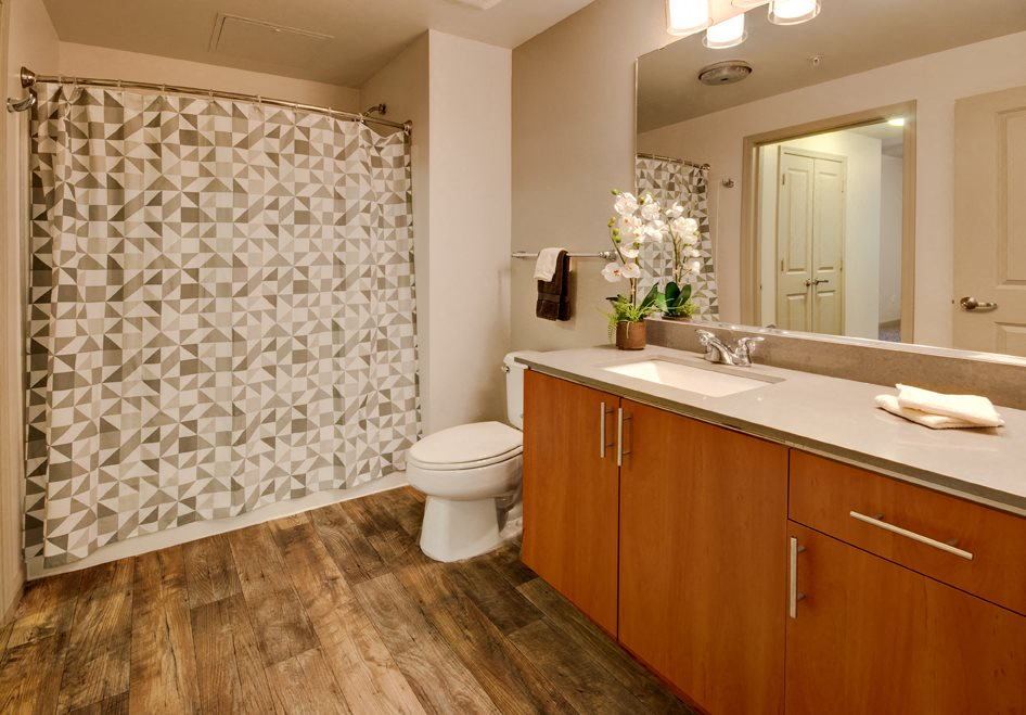 Double Vanity, at Beaumont Apartment Homes, 14001 NE 183rd Street, Washington
