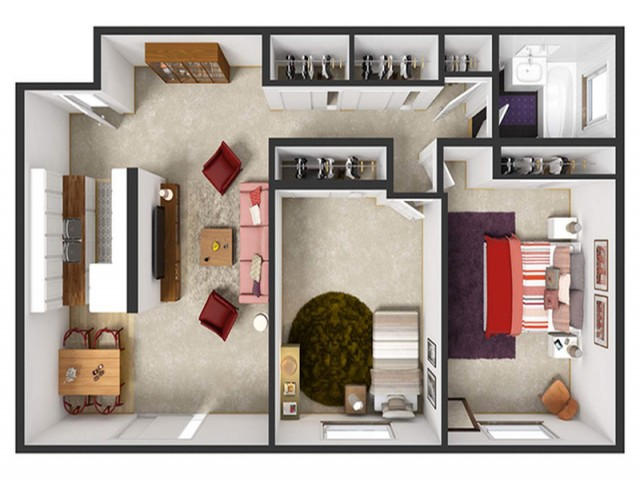 Two bedroom, one bath 750 sq ft