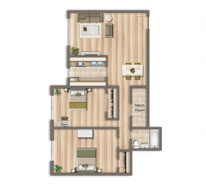 975-Square-Foot-Two-Bedroom-Apartment-Floorplan-Available-For-Rent-Cambridge-Square-Apartments