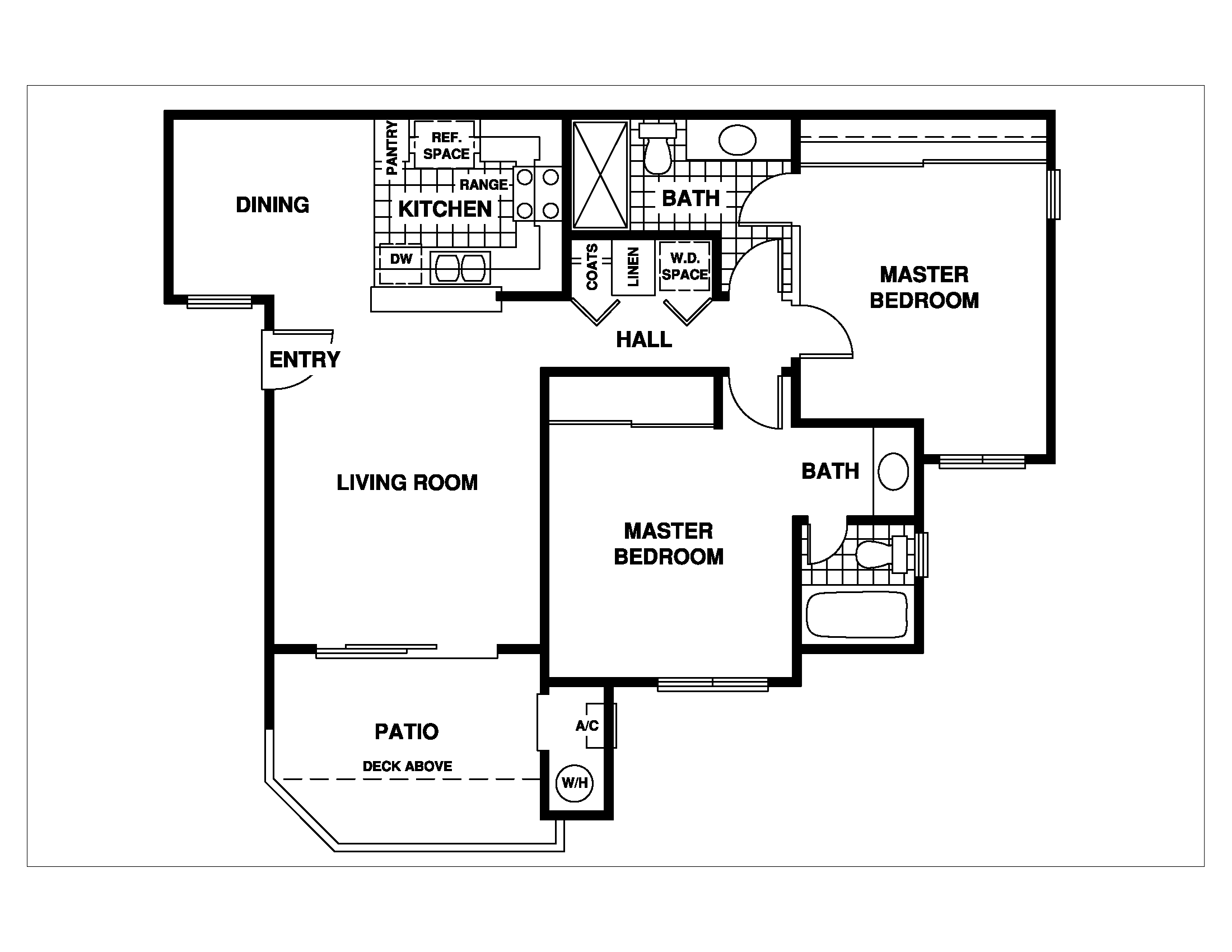 2 Bed 2 Bath Floor Plan, at 1750 on First Apartments, 1750 First Street, 93065
