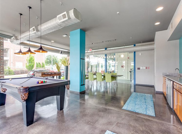 Image of Greenway Community Room view of Pool Table and Kitchen Area