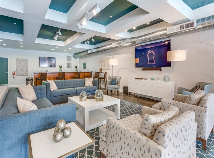 Posh Lounge Area In Clubhouse at Greenway at Fisher Park, Greensboro, NC