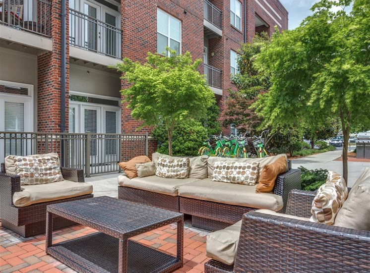 Spacious, Landscaped Patio and Private Courtyard at Greenway at Fisher Park, Greensboro, NC, 27401