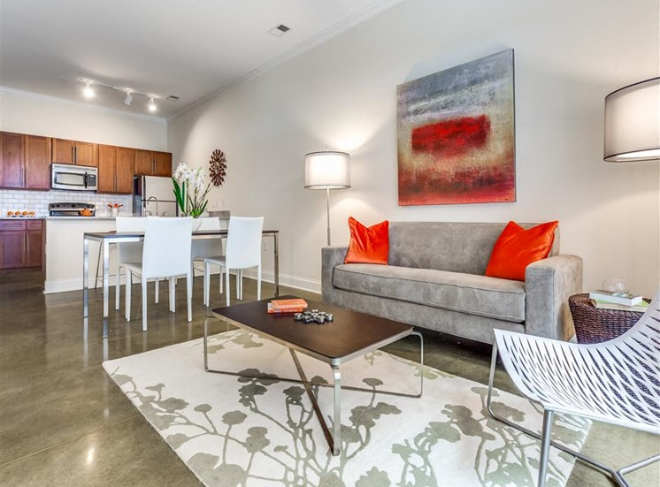 Living Room Come Kitchen View at Greenway at Fisher Park, Greensboro, NC, 27401