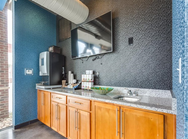 Kitchen Area In Clubhouse at Greenway at Fisher Park, North Carolina, 27401