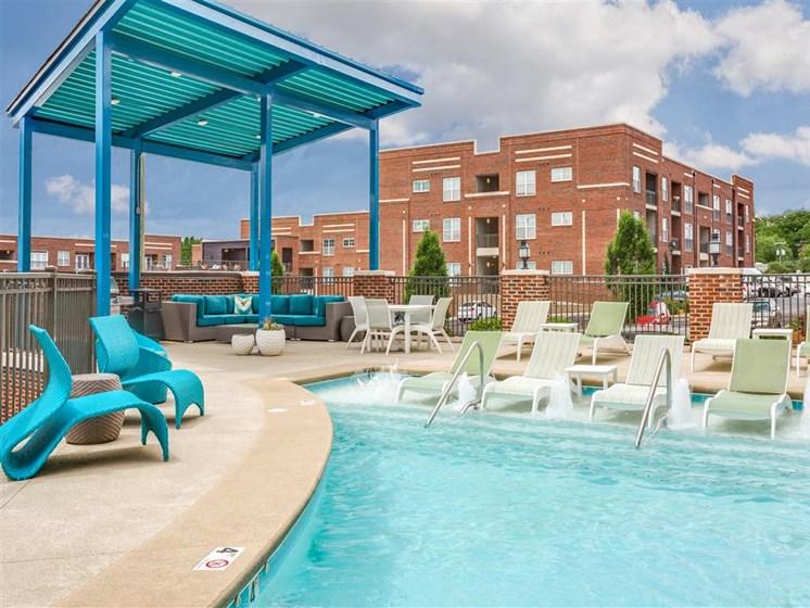 Extensive Resort Inspired Pool Deck at Greenway at Stadium Park, Greensboro, 27401