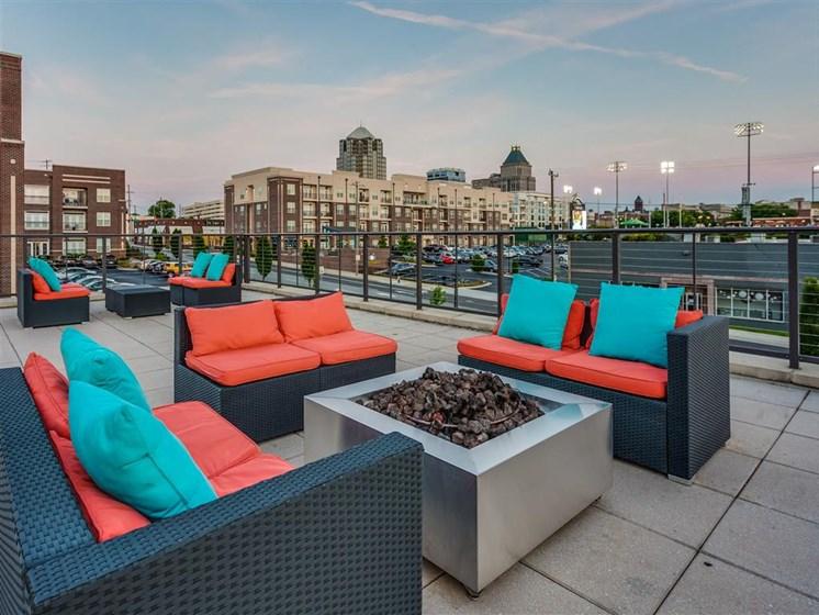 Rooftop Terrace Seating at Greenway at Stadium Park, Greensboro, NC