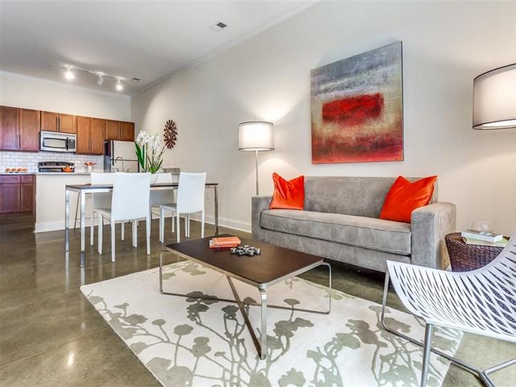 Living Room Come Kitchen View at Greenway at Stadium Park, Greensboro