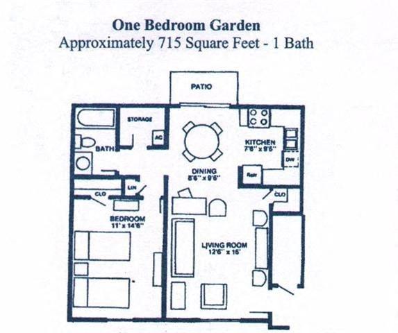 ONE BEDROM GARDEN Floor Plan 1