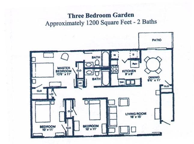 THREE BEDROOM GARDEN Floor Plan 4