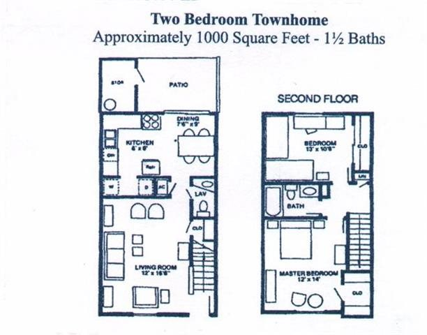 TWO BEDROOM TOWN HOME Floor Plan 3