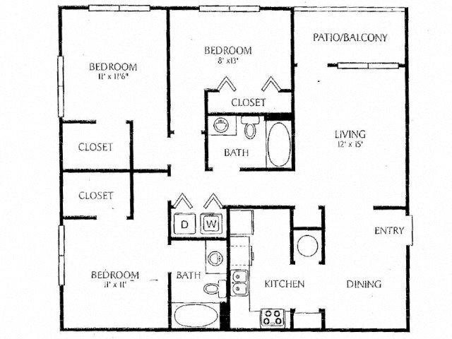 3 Bedroom 2 Bath Floor Plan 4