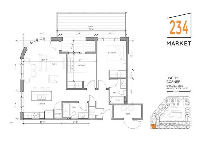 2bed 2bath Style E1 CORNER w/ Large Balcony
